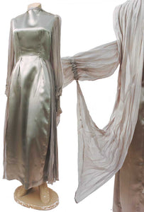 1930s spirit of ecstasy silver evening gown with georgette wings