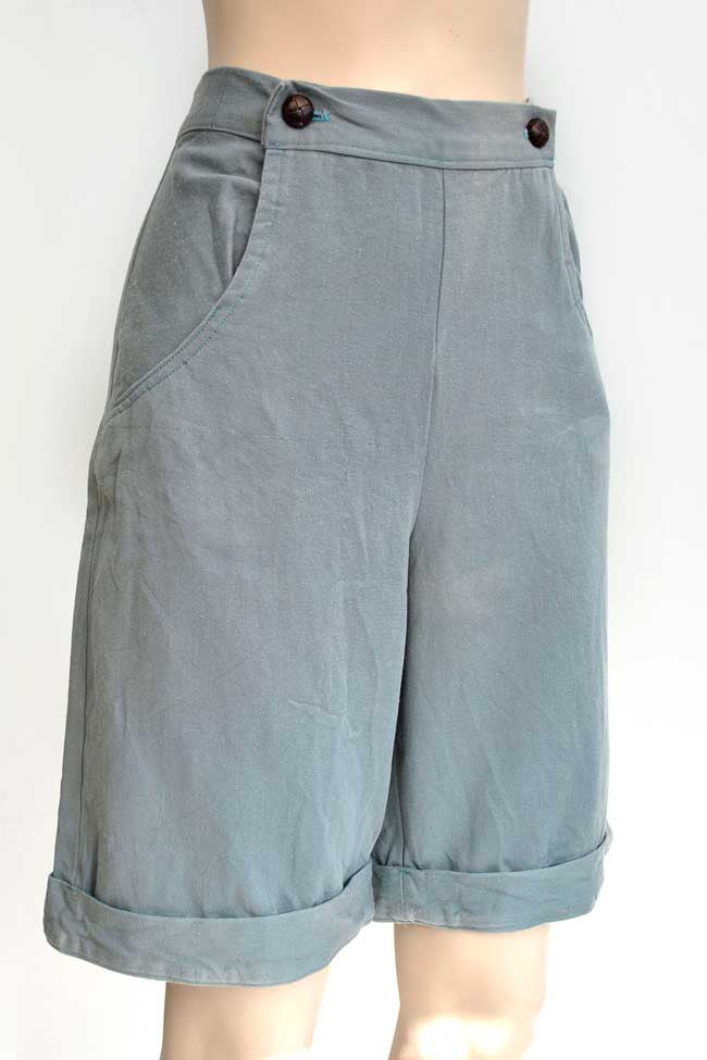 vintage 40s airforce blue, sailor front women's shorts