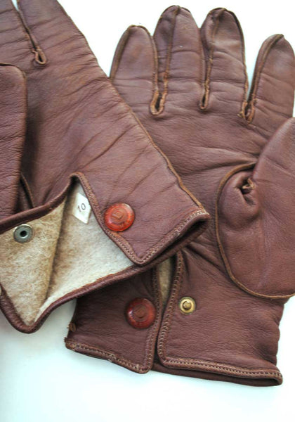 1940s Men's Vintage Brown Leather Gloves size 10
