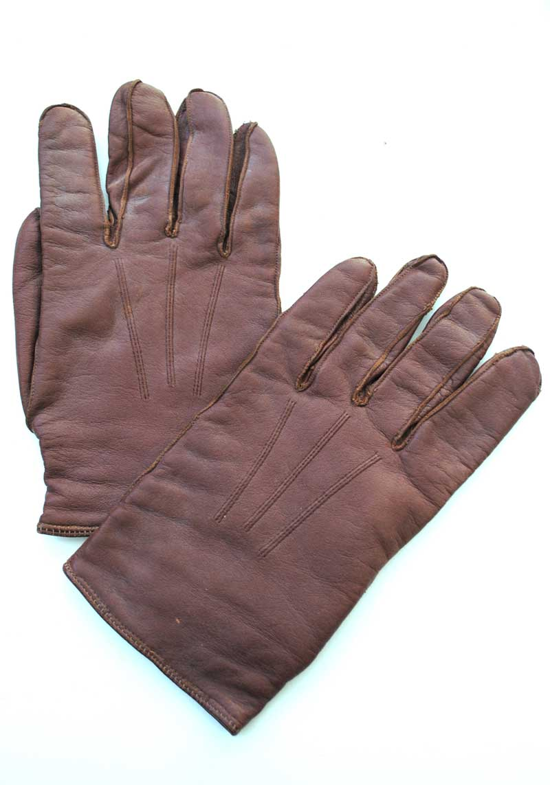 mens vintage 40s brown leather driving gloves