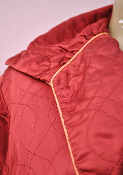 Vintage 40s Red Satin Quilted Dressing Gown • Housecoat