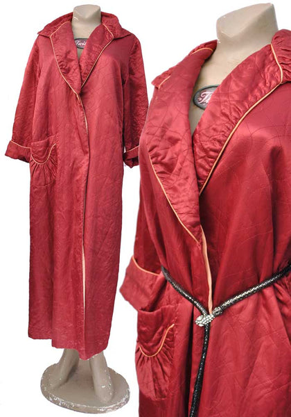 vintage 40s cherry red quilted housecoat dressing gown