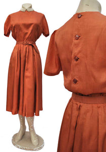 vintage 40s copper silk hand made day dress