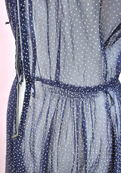 Vintage 30s Sheer Blue Spotty Dress • Polka Dots • 1930s Organdy Dress