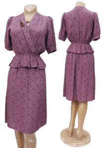 Vintage 40s Style 1970s Lilac Peplum Summer Dress • Tea Dress