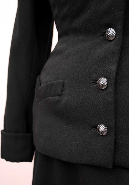 1940s Vintage Tailored Black Beaded Skirt Suit • Volup