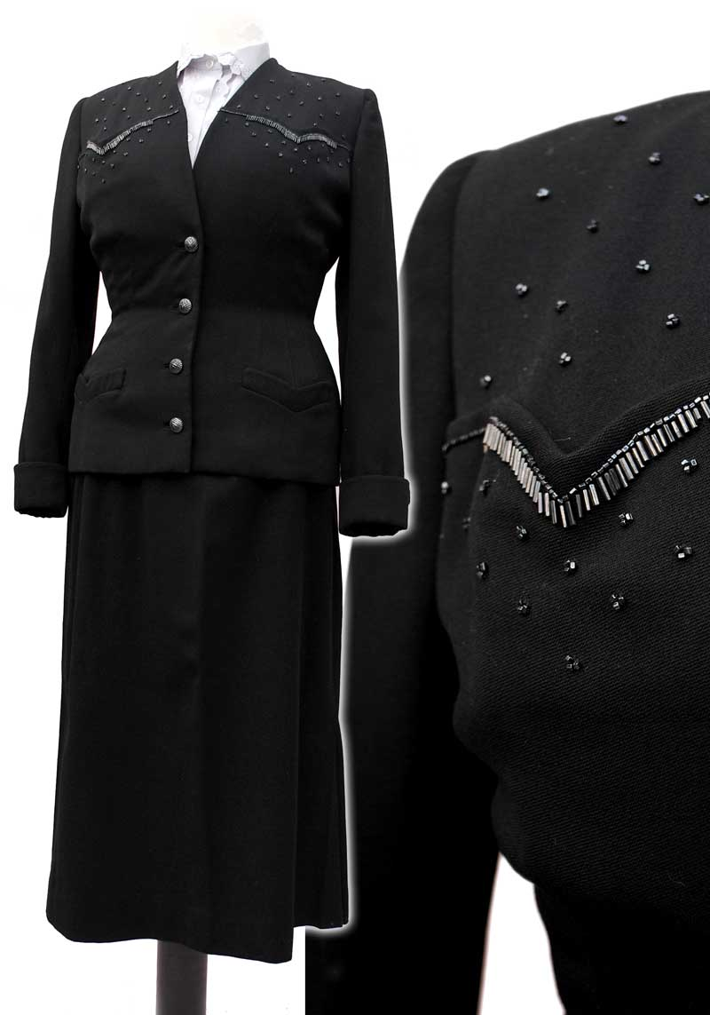 vintage 40s black gab skirt suit with beaded details, volup size with below the knee skirt and hourglass fitted jacket.