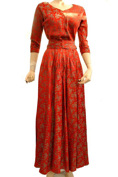Vintage 40s Red Green Satin Brocade Pleated Evening Dress • 3 Piece Skirt Set • Tailor Made