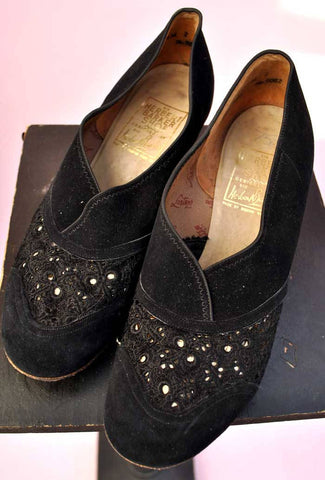 original vintage 40s slip on shoes, black suede shoes by Barkers