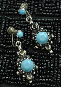 40s dangle turquoise screw on earrings