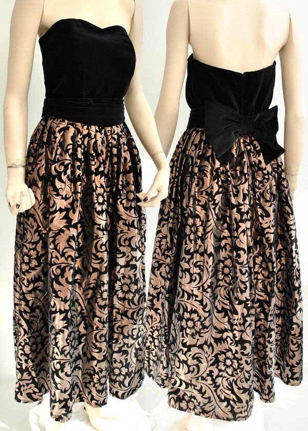 Vintage 80s copper flocked party dress by monsoon with black velvet bodice and large bow belt