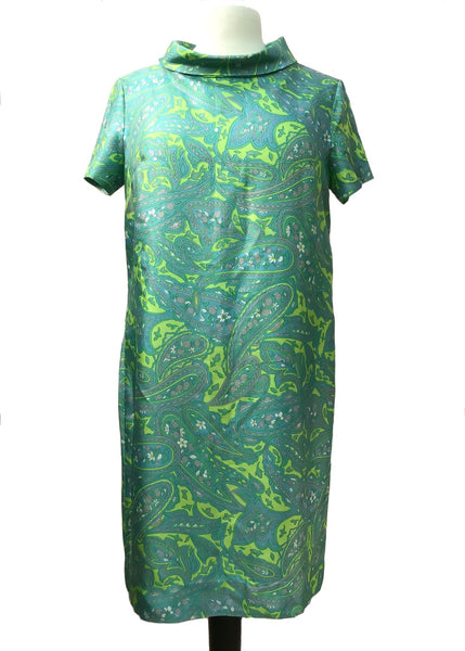 1960s Green Paisley Tricel Mini Shift Dress • Mod