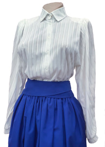 Vintage 80s while striped secretary blouse with puffed shoulders
