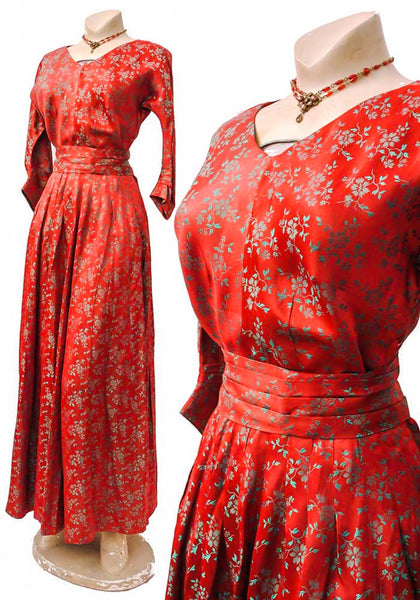 vintage 40s glamour bespoke made, red and green brocade 1940s cocktail dress
