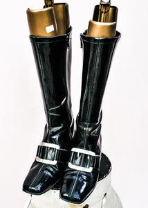 Vintage 60s black knee high go-go boots with large front buckle