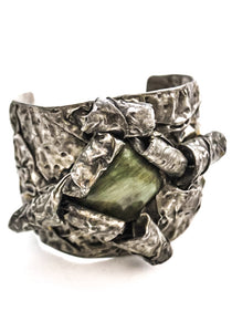 large men's statement brutalist cuff bracelet with raw jade