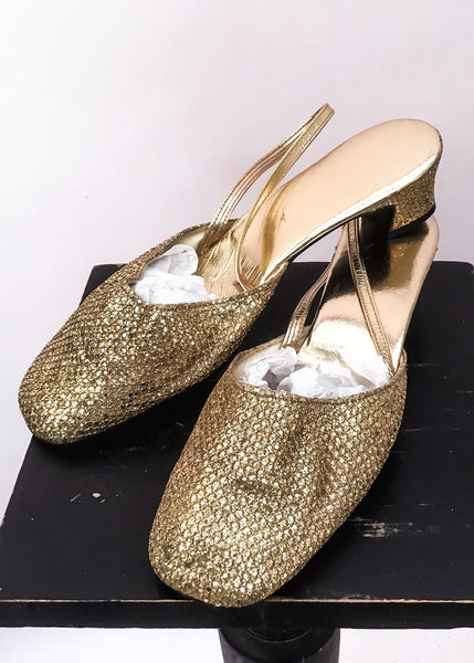 Vintage 60s gold go-go mod evening sandals shoes, slingbacks
