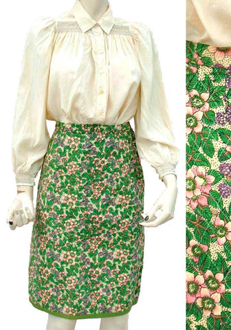 Vintage liberty print quilted skirt from the late 1950s early 60s, blackberry printed skirt