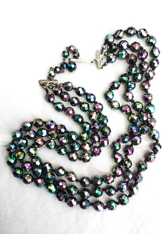 Vintage iridescent carnival glass Choker necklace with three strands