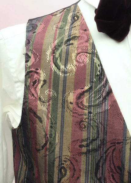 1980s Striped Damask Folkespeare Waistcoat 40""
