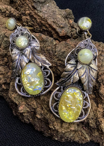 Yellow gold dragon fire opal, filigree edwardian dangle earrings, available to buy.