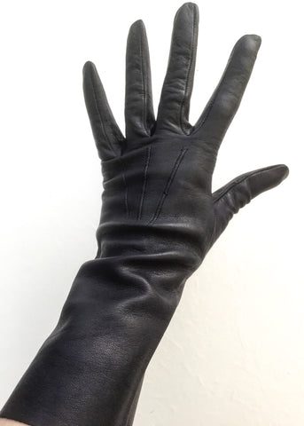 Vintage 60s Midnight blue, kid leather gauntlet gloves