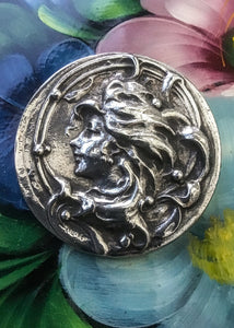 1900s Vintage Art Nouveau Silver Metal Gibson Girl Cameo Brooch French