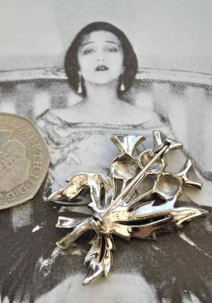 1950s Vintage Marcasite Thistle Brooch Pin