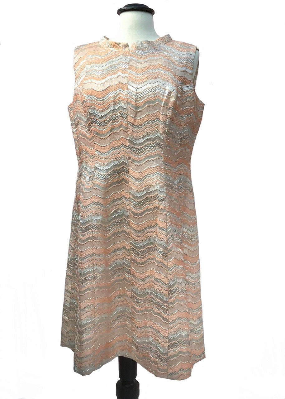 fantastic peachy pink and silver sleeveless mini dress, space age go- go dress to fit 44 inch bust