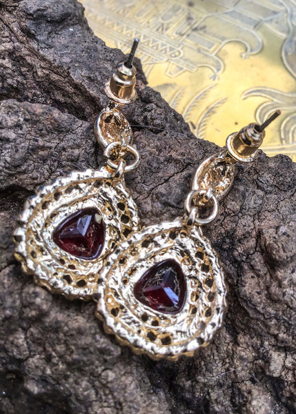 Sparkly Red Crystal Dangle Statement Earrings with Tear Shaped Drops