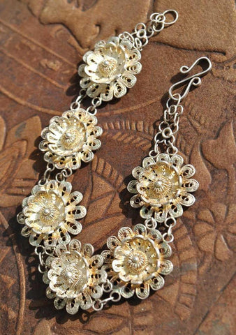 Buy vintage gold washed silver filigree flower bracelet