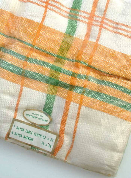 1960s Deadstock Rayon Tablecloth with Napkins Original Packaging