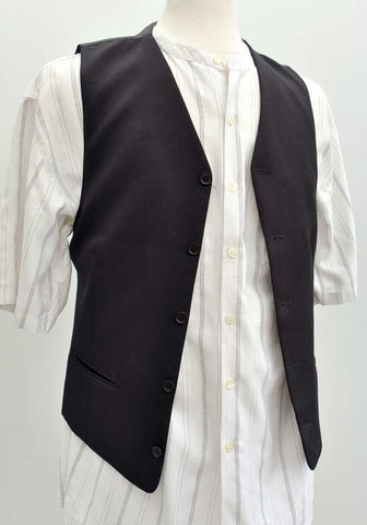 vintage black five button suit waistcoat vest with adjustable back belt