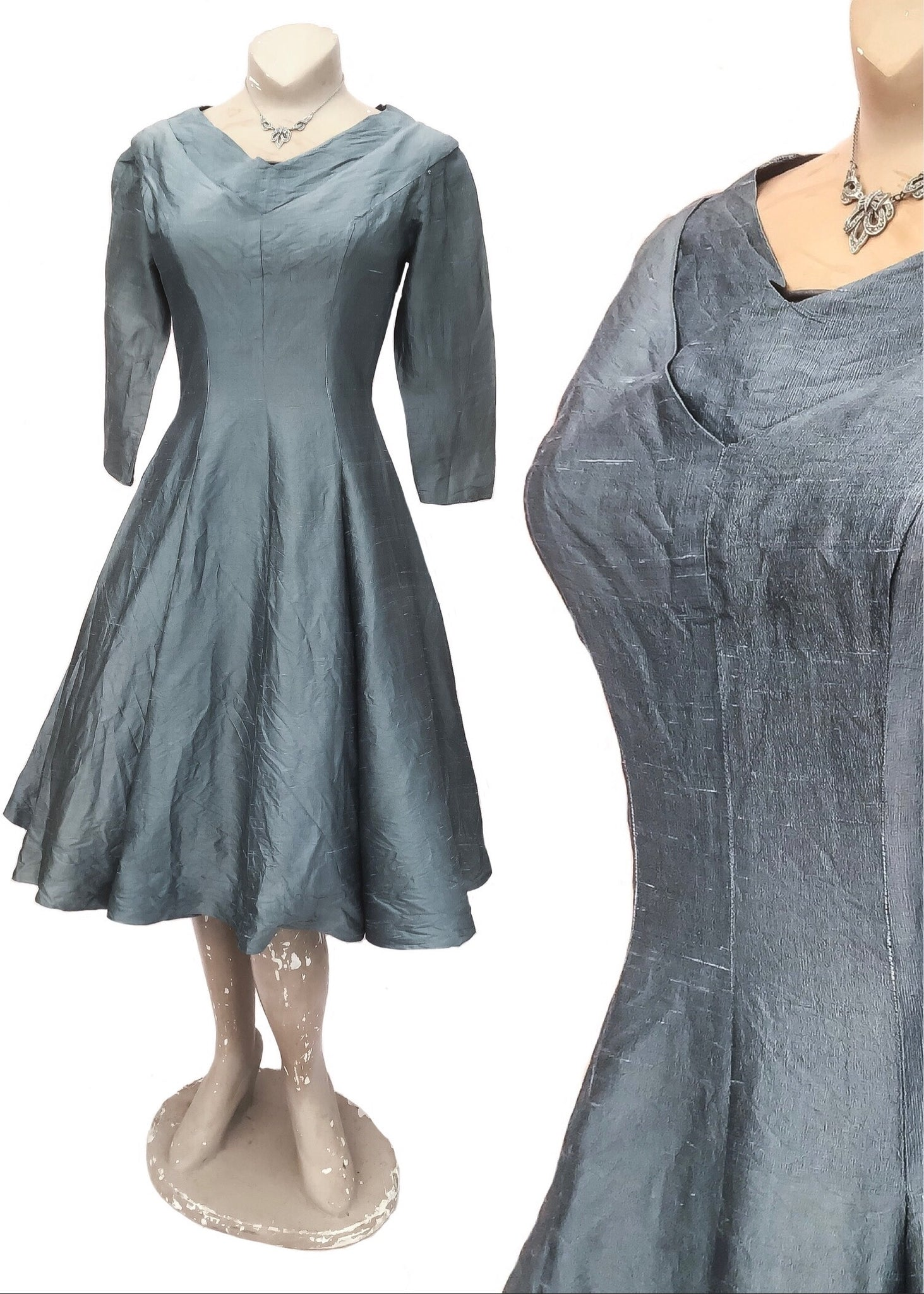 silver grey raw silk fit and flare cocktail party dress