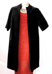 glamorous 1950s black silk velvet opera coat, duster evening coat
