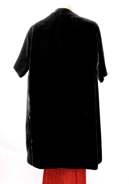 1950s Black Velvet Opera Duster Coat • Swing Coat