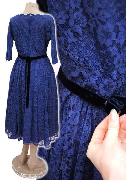 1950s Vintage Blue Lace Fit and Flare Cocktail Dress • 40 Bust