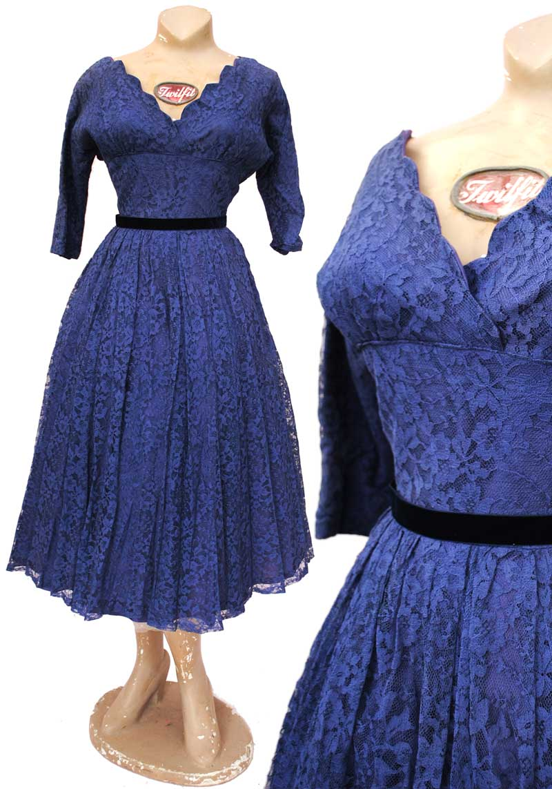 vintage 50s blue lace rockabilly flared cocktails swing dress