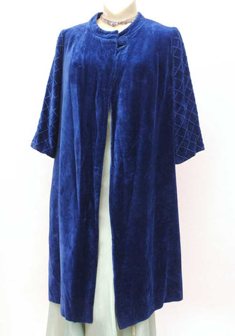 1950s vintage harrods blue velvet duster coat, evening coat