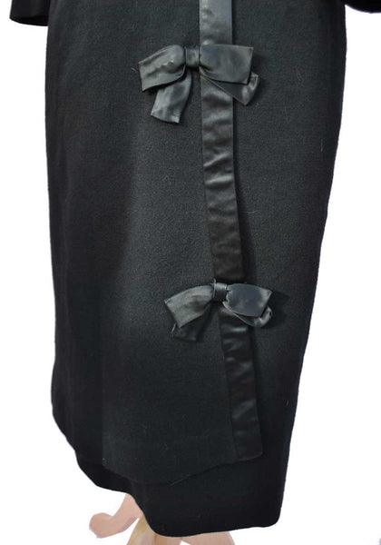 1950s Vintage Black Wool Jersey Cocktail Dress with Satin Bows