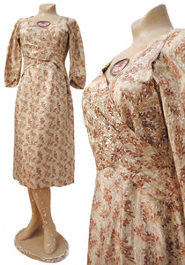 vintage 40s autum oak leaf silk damask dress 36 bust