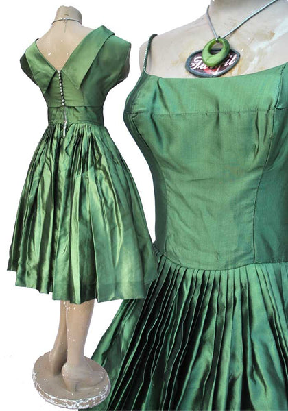 Vintage 1950s Green Cocktail Dress with Bolero • Prom Gown • Circle Skirt
