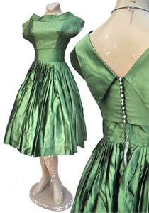 vintage 50s green cocktail gown