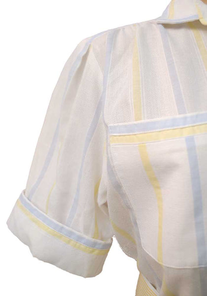 1970s Vintage White Pastel Stripes Shirt-waister • Summer Tea Dress