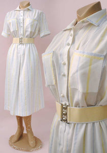 white cotton shirtwaister vintage dress, pastel stripes