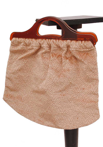 vintage 50s peach  velvet knitting bag with lucite handles