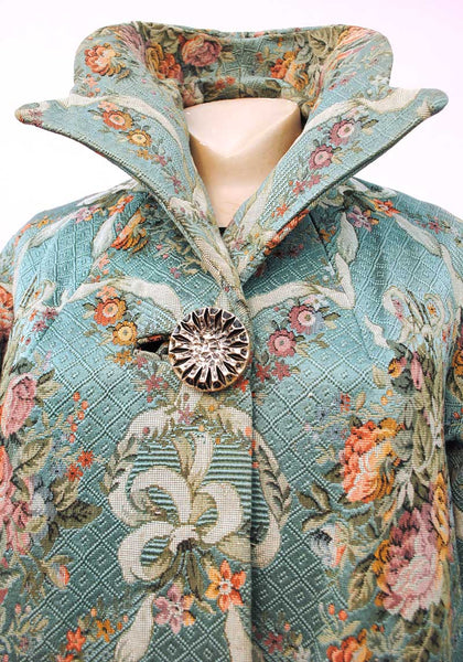 1960s Vintage Tapestry Swing Cocktail Coat • Roses and Swags
