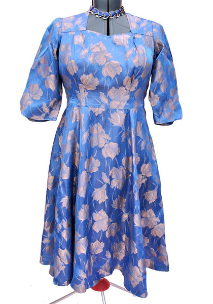 vintage 50s blue and rose gold brocade satin cocktail dress, fit and flare volup size 44 bust