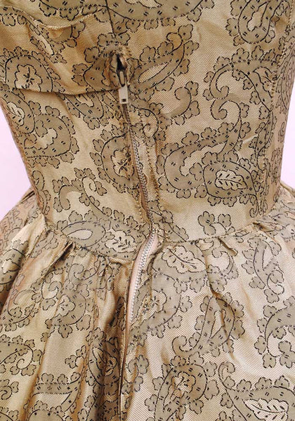 Vintage 1950s Gold Fit and Flare Cocktail Dress • Prom Gown • Paisley