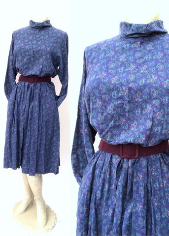 long sleeve brushed cotton purple paisley dress by dereta with cowl collar and pockets, size 12 x 14